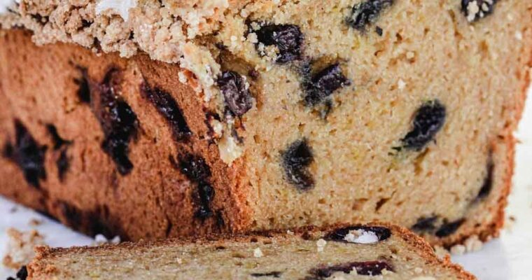 Summery Blueberry Lemon Bread With Crumb Topping and Icing Glaze